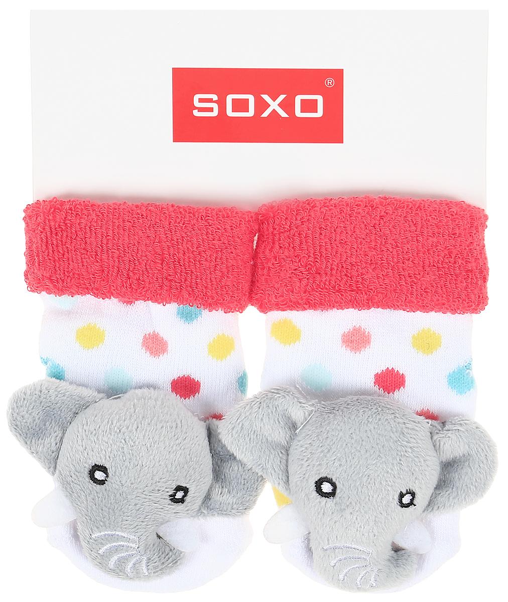 Носки детские Soxo, цвет: белый, красный. 68698. Размер 16/1868698
