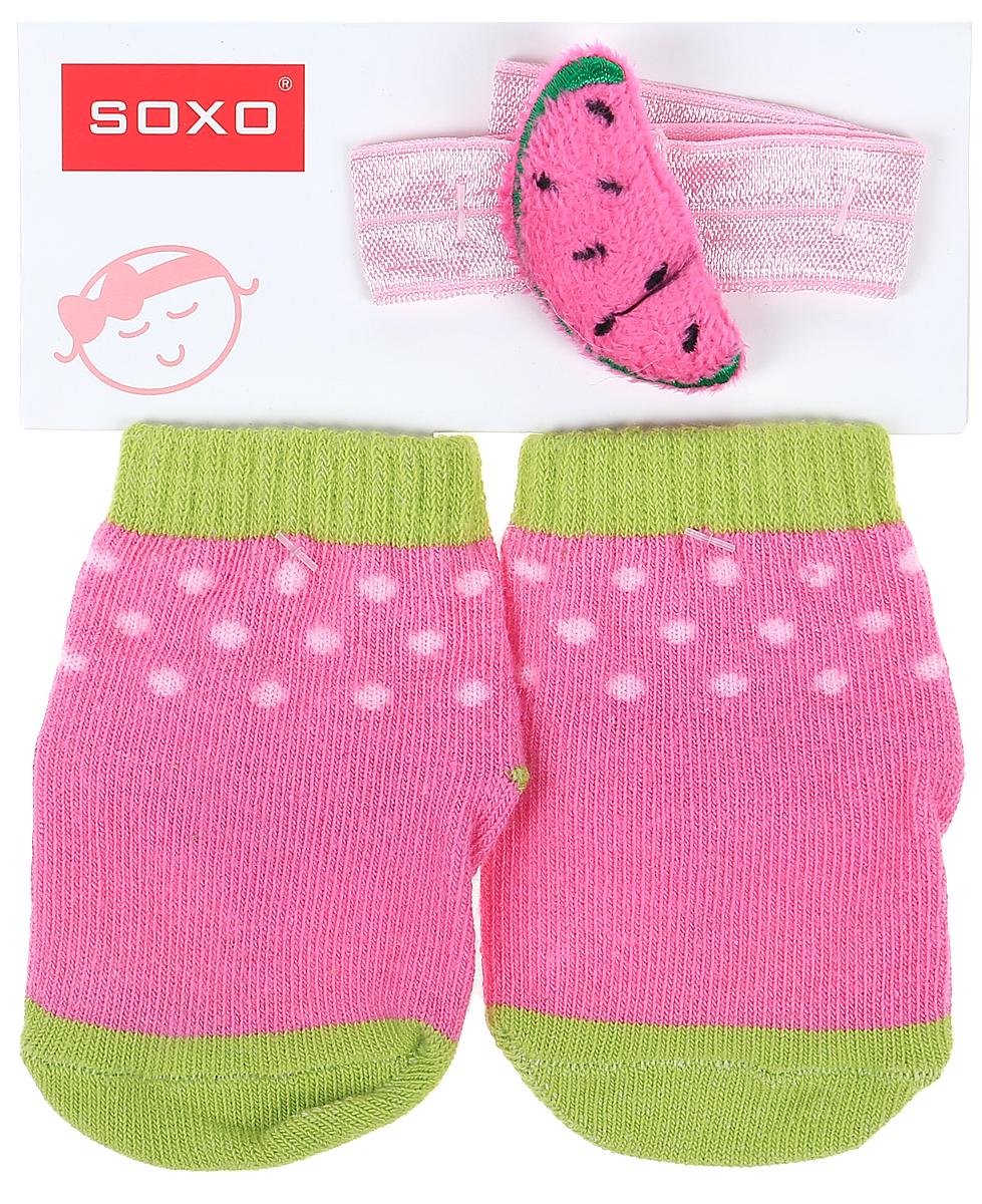 Комплект для девочек Soxo: носки и повязка на голову, цвет: розовый. 65014_2. Размер 16/1865014_2