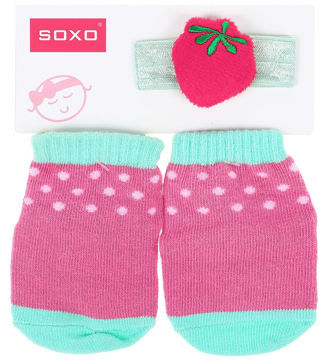Комплект для девочек Soxo: носки и повязка на голову цвет: розовый, малиновый. 65014_1. Размер 16/1865014_1