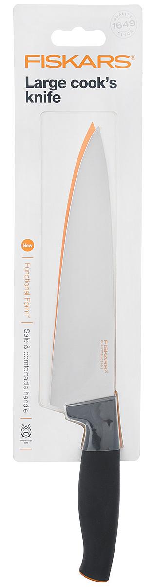 Поварской нож Fiskars Functional Form, с широким лезвием, цвет: черный, оранжевый, длина лезвия 20 см1014194Поварской нож Fiskars Functional Form выполнен из высококачественной нержавеющей стали. Он прекрасно подойдет для шинковки овощей и нарезки мяса. Эргономичная рукоять выполнена из качественного пластика. Рельефная поверхность и мягкое покрытие Softgrip обеспечивают надежный захват и не дают ножу скользить в ладони при использовании.Особенности ножа:-высокое качество (безопасность, прочность, гигиеничность);-функциональность (легко использовать, мыть и хранить);-привлекательный дизайн;-высококачественная сталь и заточка обеспечивают остроту лезвия;-длинное лезвие запрессовано в рукоятку;-современный и очень удобный дизайн рукоятки.Общая длина ножа: 31,5.Можно мыть в посудомоечной машине.