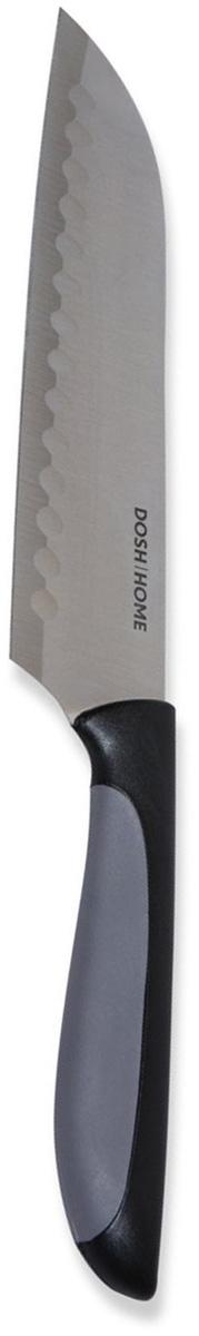Нож сантоку Dosh l Home LYNX, длина лезвия 18 см100605Нож сантоку Dosh l Home LYNX отлично подходит для легкого и точного нарезания продуктов. Двухсторонняя ребристая поверхность предотвращает прилипание пищевых продуктов к лезвию и облегчает нарезку ломтиками. У лезвия ножей идеально острая режущая кромка. Рукоятка ножа абсолютно эргономична и не скользит, за счет прорезиненной нижней части. Лезвие ножа изготовлено из ножевой стали. Для заточки используйте то точилку или брусок для ножей. Ножи пригодны для мытья в посудомоечной машине.Длина лезвия: 18 см.Толщина лезвия: 1,2 мм.