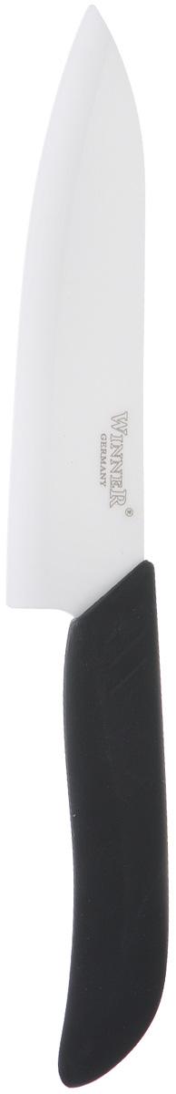 Нож поварской Winner, керамический, цвет: черный, длина лезвия 15,3 смWR-7202Нож Winner изготовлен из высококачественной циркониевой керамики - гигиеничного, экологически чистого материала. Нож имеет острое лезвие, не требующее дополнительной заточки. Эргономичная рукоятка выполнена из высококачественного прорезиненного пластика. Рукоятка не скользит в руках и делает резку удобной и безопасной. Такой нож желательно использовать для нарезки овощей, фруктов, рыбы и мяса без костей. Керамика - это отличная альтернатива металлу. В отличие от стальных ножей, керамические ножи не переносят ионы металла в пищу, не разрушаются от кислот овощей и фруктов и никогда не заржавеют. Этот нож будет служить вам многие годы при соблюдении простых правил.Общая длина ножа: 27 см.