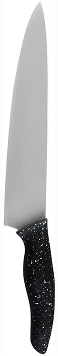 Нож поварской Marta Chefs, длина лезвия 20 смMT-2867Поварской нож Marta Chefs применяется для нарезки, шинковки, измельчения любых продуктов. Выполнен из высококачественной пищевой нержавеющей стали и керамическим покрытием. Нож имеет гладкое острозаточенное лезвие, а также стильное исполнение пластиковой ручки удобной формы, обеспечивающей плотный контакт с ладонью, со специальным покрытием, предотвращающим скольжение в руке. Ножи из нержавеющей стали имеют самый длительный срок службы, отлично сохраняют эксплуатационные свойства и внешний вид. Высококачественная пищевая нержавеющая сталь не имеет запаха и сохраняет вкус и аромат продуктов натуральными, а экологически чистое антибактериальное гипоаллергенное керамическое покрытие устойчиво к коррозии, износу и обеспечивает длительное сохранение качества режущей кромки ножа без необходимости его дополнительной заточки.Нож можно мыть в посудомоечной машине. Толщина лезвия: 2 мм.Общая длина ножа: 31,8 см.