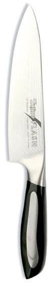 Нож поварской Tojiro Flash, длина лезвия 16 смFF-CH160Поварской нож Tojiro Flash выполнен из высококачественной 63-слойной нержавеющей стали, обладающей высокой твердостью и устойчивостью к коррозии. Лезвие обтекаемой формы оформлено японскими иероглифами. Эргономичная ручка позволяет держать нож свободно и максимально удобно.Рукояти ножей серии Tojiro Flash Damascus изготовлены с использованием материала Micarta. Этот материал используется при изготовлении туристических и охотничьих ножей, ножей, которые должны выдерживать экстремальные нагрузки при эксплуатации в неблагоприятных условиях. Стальные накладки рукояти приварены к хвостовику и окружены Micarta. Сталь придает рукоятям ножей серии Tojiro Flash Damascus должный вес, а Micarta обеспечивает неповторимый комфорт при работе этими ножами.Клинки ножей серии Tojiro Flash Damascus изготовлены из стали VG-10, разработанной специально для производства ножей. Клинки заточены до невероятной остроты, финишная заточка производится на японских водных камнях. Это обеспечивает клинкам ножей серии Tojiro Flash Damascus долгое сохранение высокой остроты.Такой нож займет достойное место среди аксессуаров на вашей кухне. Правила эксплуатации: - Хранить нож следует в сухом месте. - После использования, промойте нож теплой водой и протрите насухо. - Оставление ножа в загрязненном состоянии может привести к образованию коррозии. Запрещается: - Мыть нож в посудомоечной машине. - Хранить ножи в одной емкости со столовыми приборами. - Резать на твердых поверхностях: каменных столешницах, керамических тарелках, акриловых досках. - Запрещается нецелевое использование ножа: вскрывать консервные банки, разрезать кости, скоблить твердые поверхности, резать замороженные продукты. Правка производится легкими движениями на водном камне или мусате. Заточка ножа - сложный технологический процесс, должен производиться профессионалом на специальном оборудовании. Услуга по заточке ножа предоставляется специалистами компании «Тоджиро». Характери