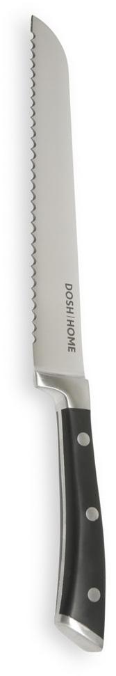 Нож хлебный Dosh Home Leo, длина лезвия 20 см100807Хлебный нож Dosh Home Leo - это массивный нож высшего качества для профессионального и домашнего использования. Зубчатое лезвие замечательно для нарезки хлеба. Выковано из цельного куска первоклассной ножевой стали. Лезвие сформировано и вручную заточено для идеального эффекта при использовании. Эргономическая ручка с массивными металлическими заклепками.Длина лезвия: 20 см.Толщина лезвия: 2,5 мм.
