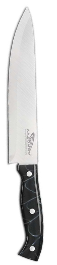 Нож шеф повара Ладомир, длина лезвия 20 см. С4НСК20С4НСК20Нож шеф повара Ладомир выполнен из высокоуглеродистой нержавеющей стали. Очень удобная и эргономичная рукоятка изготовлена из смолы.Нож предназначен для нарезки мяса, рыбы, овощей и фруктов. Такой нож займет достойное место среди аксессуаров на вашей кухне. Особенности ножа Ладомир: - материал лезвия - высокоуглеродистая нержавеющая сталь соответствует ГОСТ 1050-88; - твердость по Роквеллу - HRC 58; - оптимальный угол заточки (23°) - в 2,7 раза увеличивает износостойкость лезвия. Характеристики:Материал: сталь, смола. Общая длина ножа: 33,5 см. Длина лезвия: 20 см. Производитель: Китай. Артикул: С4НСК20.