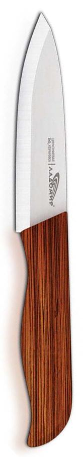 Нож универсальный Ладомир, циркониевая керамика, длина лезвия 10 см. Е4АКА10Е4АКА10Универсальный нож Ладомир выполнен из циркониевой керамики белого цвета. Рукоять изготовлена из древесины бамбука. Очень удобная и эргономичная ручка не позволит выскользнуть ножу из вашей руки. Нож применяется для разделки овощей, рыбы и других продуктов, поэтому позволит резать продукты без особого труда. Такой нож займет достойное место среди аксессуаров на вашей кухне. Особенности универсального ножа Ладомир: - уникальный коэффициент твердости по Роквеллу - НRС 85. Прочнее только алмазы! - обжигается при температуре более 1500°C; - износостойкость лезвия превосходит любые стали почти в 100 раз; - в 2 раза легче, чем стальные ножи; - абсолютная химическая нейтральность; - не рекомендуется мыть в посудомоечной машине; - нельзя резать кости, очень твердые и замороженные продукты; - категорически нельзя рубить или ковырять жесткие части продуктов, а также скоблить; - беречь нож от падения с высоты. Характеристики:Материал: циркониевая керамика, бамбук. Общая длина ножа: 20,5 см. Размер лезвия (Д х Ш х В): 10 см х 2,5 см х 0,2 см. Вязкость разрушения: 9 МПа м^1/2.Прочность на изгиб: ~ 930МПа. Изготовитель: Китай. Артикул: Е4АКА10.