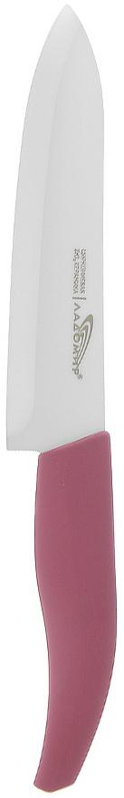Нож универсальный Ладомир, длина лезвия 15 см. Е2АКА15Е2АКА15Универсальный нож Ладомир с лезвием из циркониевой керамики предназначен для нарезки твердых и мягких продуктов: овощей, фруктов, сыра, мяса. Очень удобная и эргономичная рукоятка, выполнена из пластика с прорезиненным приятным на ощупь покрытием. Такой нож займет достойное место среди аксессуаров на вашей кухне.Особенности ножа Ладомир: - Обжигается при температуре 1500°С; - твердость по Роквеллу - HRC 58; - износостойкость лезвия превосходит любые стали почти в 100 раз, - абсолютная химическая нейтральность, - вязкость разрушения: 9 МПа м^1/2. Характеристики:Материал: циркониевая керамика, пластик. Общая длина ножа: 24,5 см. Длина лезвия: 12 см. Изготовитель: Китай. Артикул: Е2АКА15.