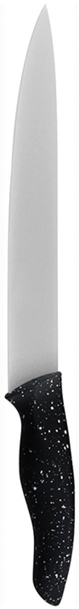 Нож для шинковки Marta Slicer, длина лезвия 20 см. MT-2868MT-2868Нож Marta Slicer выполнен из высококачественной пищевой нержавеющей стали и керамическим покрытием. Нож для нарезки имеет гладкое острозаточенное лезвие, а также стильное исполнение ручки удобной формы, обеспечивающей плотный контакт с ладонью, со специальным покрытием, предотвращающим скольжение в руке. Изделие предназначено для шинковки, нарезки овощей и фруктов. Нож можно точить. Нож можно мыть в посудомоечной машине.Длина ножа: 31,8 см.Толщина лезвия: 2 мм.