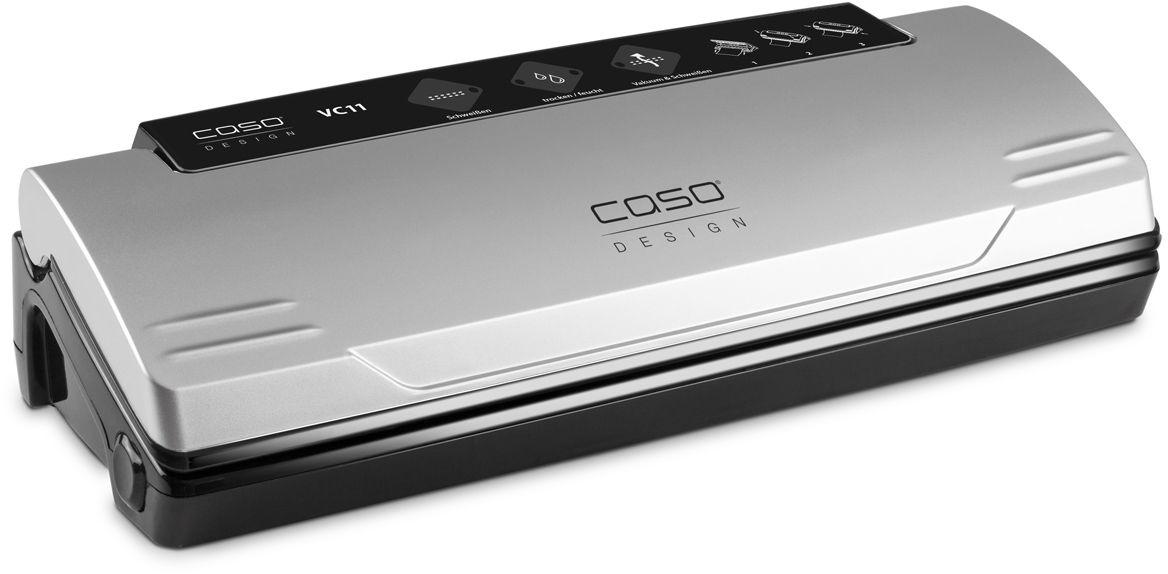 CASO VC 11, Silver вакуумный упаковщикVC 11CASO VC 11 - вакуумный упаковщик для надежного хранения пищевых продуктов (как мяса и рыбы, так и овощей и фруктов) без потери их питательных свойств. Полностью автоматическая система вакуумирования обеспечивает оптимальную свежесть упакованных продуктов. Прибор оснащен электронным контролем температуры сварного шва. Имеется также кнопка остановки насоса для нежных продуктов.