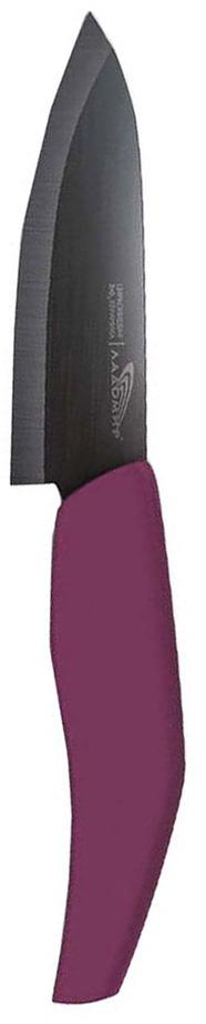 Нож универсальный Ладомир, циркониевая керамика, длина лезвия 12 см. Е2АКВ12Е2АКВ12Универсальный нож Ладомир выполнен из циркониевой керамики черного цвета. Рукоять изготовлена из высококачественного пищевого пластика. Очень удобная и эргономичная ручка не позволит выскользнуть ножу из вашей руки. Нож применяется для разделки овощей, рыбы и других продуктов, поэтому позволит резать продукты без особого труда. Такой нож займет достойное место среди аксессуаров на вашей кухне. Особенности универсального ножа Ладомир: - уникальный коэффициент твердости по Роквеллу - НRС 85. Прочнее только алмазы! - обжигается при температуре более 1500°C; - износостойкость лезвия превосходит любые стали почти в 100 раз; - в 2 раза легче, чем стальные ножи; - абсолютная химическая нейтральность; - не рекомендуется мыть в посудомоечной машине; - нельзя резать кости, очень твердые и замороженные продукты; - категорически нельзя рубить или ковырять жесткие части продуктов, а также скоблить; - беречь нож от падения с высоты. Характеристики:Материал: циркониевая керамика, пластик. Общая длина ножа: 24,5 см. Размер лезвия (Д х Ш х В): 12 см х 2,5 см х 0,2 см. Вязкость разрушения: 9 МПа м^1/2.Прочность на изгиб: ~ 930МПа. Изготовитель: Китай. Артикул: Е2АКВ12.