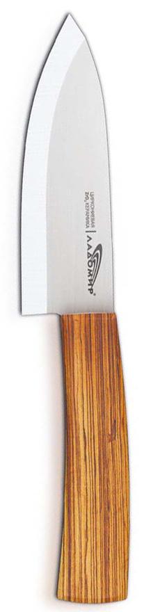 """Универсальный нож """"Ладомир"""" выполнен из циркониевой керамики белого цвета. Рукоять изготовлена из древесины бамбука. Очень удобная и эргономичная ручка не позволит выскользнуть ножу из вашей руки. Нож применяется для разделки овощей, рыбы и других продуктов, поэтому позволит резать продукты без особого труда. Такой нож займет достойное место среди аксессуаров на вашей кухне. Особенности универсального ножа """"Ладомир"""": - уникальный коэффициент твердости по Роквеллу - НRС 85. Прочнее только алмазы! - обжигается при температуре более 1500°C; - износостойкость лезвия превосходит любые стали почти в 100 раз; - в 2 раза легче, чем стальные ножи; - абсолютная химическая нейтральность; - не рекомендуется мыть в посудомоечной машине; - нельзя резать кости, очень твердые и замороженные продукты; - категорически нельзя рубить или ковырять жесткие части продуктов, а также скоблить; - беречь нож от падения с высоты.   Характеристики:Материал: циркониевая керамика, бамбук. Общая длина ножа: 23,5 см. Размер лезвия (Д х Ш х В): 12 см х 2,8 см х 0,2 см. Вязкость разрушения: 9 МПа м^1/2.  Прочность на изгиб: ~ 930МПа. Изготовитель: Китай. Артикул: Е7АКА12."""