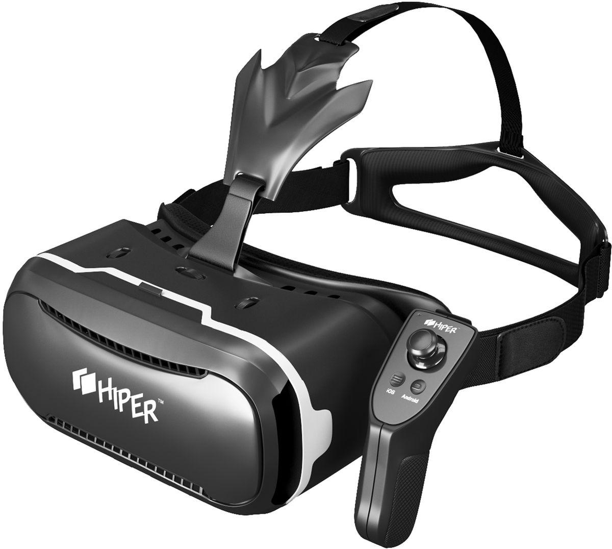 Hiper VRQ+, Black очки виртуальной реальностиVRQ+Тип линз: асферические акриловые линзы.Угол обзора: 90-110 градусов.Совместимость: смартфоны на iOS и Android с дисплеем 4,3 – 6. Регулировка фокусного расстояния. Регулировка межфокусного расстояния. Диаметр линзы: 42 мм. Габаритные размеры: 202 х 140 х 100 мм.Вес: 380 г. Комплектация: VR очки, джойстик, микрофибра.