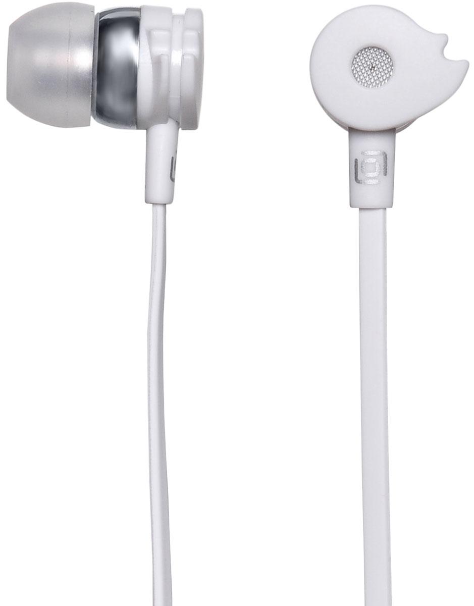 Oklick HP-S-210, White наушникиHP-S-210Oklick HP-S-210 - подходящий выбор для тех, кто не может представить свою жизнь без любимой музыки отменного качества, звучащей в ушах в пути, во время занятий спортом и любое другое удобное время.Наушники плотно и надежно фиксируются в ушной раковине благодаря специальной форме амбушюр, что выгодно отличает ее от других проводных моделей. Легковесная конструкция делает ношение этого устройства невероятно комфортным.Акустические характеристики гарнитуры Oklick HP-S-210 обеспечивают естественное звучание на средних частотах и четкую детализацию звуков при прослушивании музыки и аудиокниг.