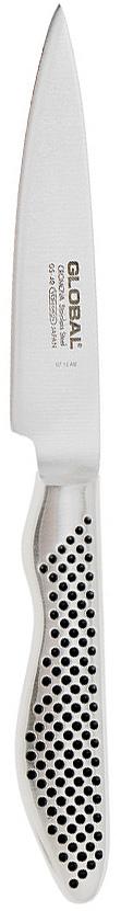 Нож для овощей Global Yoshikin, длина лезвия 10 см. GS-40GS-40которая является молибден-ванадиевой сталью, с твердостью 56-58 градусов по Роквеллу. Эта сталь, холодной закалки, тупится намного медленнее, чем обычная нержавеющая сталь и устойчива ко всем видам коррозии. Рукоятка выполнена из пустотелой нержавеющей стали с узором черные точки и имеет анатомический хват, благодаря чему не скользит в руке. Нож гигиенически безопасен, т.к. имеет гладкие контуры и бесшовную конструкцию исключающую скопление пищи и грязи. Нож для овощей Global Yoshikin порадует любую хозяйку, ведь готовить теперь станет еще проще и приятнее. ВНИМАНИЕ: Нож нельзя мыть в посудомоечной машине!Характеристики:Материал лезвия: Cromova 18 Stainless Steel.Материал рукояти: Stainless Steel (нержавеющая сталь).Твердость по шкале Роквелла: 56-58 Hrc.Тип режущей кромки лезвия: двусторонняя симметричная.Угол заточки: 20°.Общая длина ножа: 21,5 см.Максимальная толщина лезвия по верхней кромке: 2 мм.