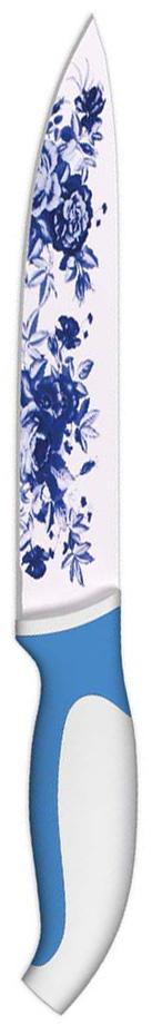 """Нож для нарезки """"Ладомир"""" изготовлен из высокоуглеродистой нержавеющей стали с цветным антибактериальным покрытием, выполненным """"под гжель"""". Рукоять изготовлена из высококачественного пищевого цветного пластика с прорезиненными вставками. Очень удобная и эргономичная ручка не позволит выскользнуть ножу из вашей руки. Он предназначен для нарезки твердых и мягких продуктов: овощи, фрукты, мясо. Такой нож займет достойное место среди аксессуаров на вашей кухне. Такой нож займет достойное место среди аксессуаров на вашей кухне. Особенности ножа """"Ладомир"""": - материал лезвия - высокоуглеродистая нержавеющая сталь с антибактериальным покрытием соответствует ГОСТ 1050-88; - твердость по Роквеллу - HRC 58; - оптимальный угол заточки (23°) - в 2,7 раза увеличивает износостойкость лезвия. Характеристики:Материал: сталь, пластик. Общая длина ножа: 32,5 см. Длина лезвия: 20 см. Производитель: Китай. Артикул: К3ССР20."""