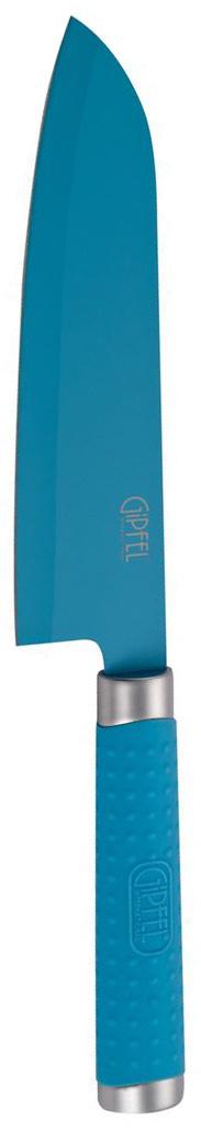 Нож разделочный Gipfel Zing, цвет: голубой, длина лезвия 17,8 см6678Разделочный нож Gipfel Zing изготовлен из высококачественной нержавеющей стали с лазерной эмблемой бренда. Ножи прекрасно держат заточку, не ржавеют, очень прочны и легки в использовании и уходе. Удобная рукоятка ножа, выполненная из нержавеющей стали с силиконовым покрытием, не позволит выскользнуть ему из руки. Нож Gipfel Zing займет достойное место среди аксессуаров на вашей кухне.