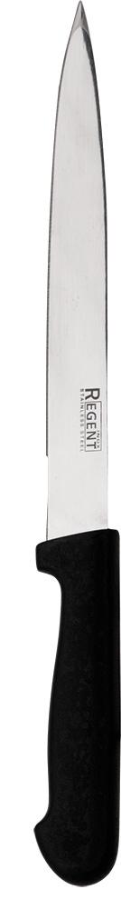 Нож разделочный Regent Inox Presto, длина лезвия 20 см93-PP-3Разделочный нож Regent Inox Presto выполнен из высококачественной нержавеющей стали, которая отличается повышенной износостойкостью. Сталь также считается экологически безопасным материалом, так как не впитывает посторонние запахи. Нож способствует быстрому и точному отделению от костей свежего или приготовленного мяса. Ножом можно аккуратно разрезать крупные или средние овощи. Лезвие ножа легко затачивается и долгое время остается острым.Его ручка надежно прикреплена к лезвию и имеет эргономичную форму. Длина ножа: 32 см.