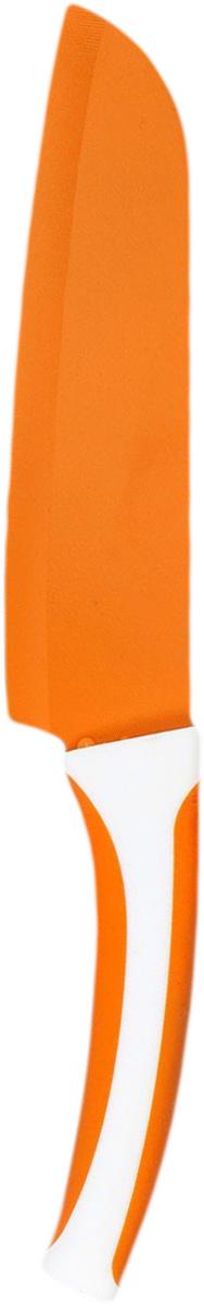 Нож сантоку MoulinVilla Lilium, цвет: оранжевый, длина лезвия 17,7 смV5 60691 CS 106Нож MOULINvilla Lilium изготовлен из высококачественной циркониевой керамики - гигиеничного, экологически чистого материала. Нож имеет острое лезвие, не требующее дополнительной заточки. Эргономичная рукоятка выполнена из высококачественного пищевого пластика. Рукоятка не скользит в руках и делает резку удобной и безопасной. Этот ножидеально шинкует, нарезает и измельчает продукты. Его острие опущено вниз, центр тяжести смещен вперед, что позволяет прикладывать меньше усилий при работе ножом.