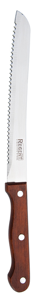 Нож для хлеба Regent Inox Linea Eco, длина лезвия: 20,5 см93-WH2-2Специальный нож для нарезки хлеба Regent Inox Linea Eco дает возможность не только вкусно приготовить обед, но и сделать это красиво. Нож выполнен из дерева и нержавеющей стали 18/10. Длинное тонкое лезвие и особые зубчики очень осторожно отрежут кусок самого свежего и нежного хлеба, при этом, не помяв его. Удобная ручка не скользит в руках и делает резку неопасной и быстрой. Длина ножа: 32 см.
