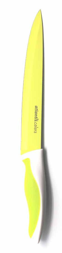 Нож для нарезки Atlantis 20см L-8S-GL-8S-GНож кухонный Atlantis высшего качества предназначен для профессионального и домашнего использования, для нарезки продуктов.Очень удобная и эргономичная ручка не позволит выскользнуть ножу из вашей руки. Особенности ножа Atlantis: японская высокоуглеродистая нержавеющая стальпрочный и острый клинокбезопасное и прочное покрытие лезвия не дающее пище прилипать к ножукрасивое сочетание цветов ручки и лезвия. Характеристики: Материал: нержавеющая сталь, пластик. Длина лезвия: 20 см. Длина общая: 33,5 см. Производитель: Китай. Артикул: L-8S-G.