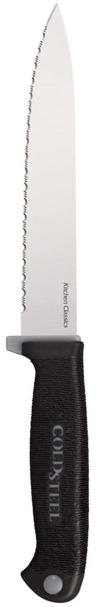 Нож кухонный Cold Steel Utility Knife, длина лезвия 15,2 смCS/59KSUZКухонный нож Cold Steel Utility Knife - незаменимый помощник на вашей кухне. Лезвие, изготовленное из стали холодной закалки, более стойкое к воздействию кислот, содержащихся в продуктах, более гигиенично и не подвержено коррозии. Кроме того, лезвие дополнено серрейторной заточкой.Легкая, отлично сбалансированная и приятная на ощупь рукоятка, выполнена из качественного кратона. Усовершенствованная модель удобна в использовании. Общая длина ножа: 27,6 см.Толщина лезвия: 1,5 мм.