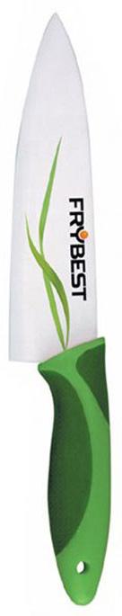 Нож поварской Frybest, керамический, цвет: зелёный, белый, 18 смFCK7Керамический поварской нож Frybest с лёгкостью режет даже мягкие и сложные для разрезания продукты. Такие, как мясо, хлеб и помидоры. Процесс резки происходит плавно и легко. Керамический нож не оставляет после себя запаха и после вкусия стали, что позволяет полностью сохранить свежесть фруктов и овощей. Нож устойчив к появлению пятен и коррозии. Просто сполосните и вытрите. Лезвие ножа обладает антибактериальными свойствами. Характеристики:Материал:керамика, пластик. Общая длина ножа:29 см. Длина рукоятки: 12 см. Размер лезвия (Д х Ш х В): 18 см х 4 см х 0,22 см. Размер упаковки: 38,5 см x 10,5 см x 1,5 см. Производитель:Китай. Артикул:FCK7.