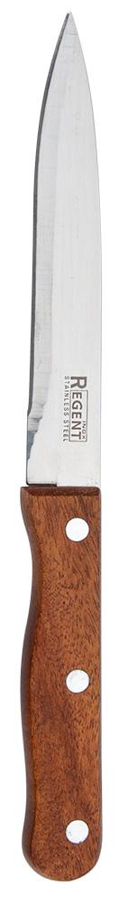 Нож для овощей Regent Inox Linea Eco, длина лезвия 12,5 см93-WH2-5Удобный нож Linea Eco предназначен для комфортной и безопасной очистки, а также нарезки любых овощей и фруктов. Он сделан из дерева и качественной нержавеющей стали 18/10, которая устойчива к коррозии. Лезвие ножа не впитывает запахи, сохраняя натуральный вкус продукта. Ручка специальной формы обеспечивает великолепный баланс и защищает пальцы от соскальзывания на острие при работе. Сбалансированность ножа гарантирует приложение наименьших усилий при резке. Нож подойдет для повседневного применения и займет заслуживающее место среди аксессуаров на кухне.