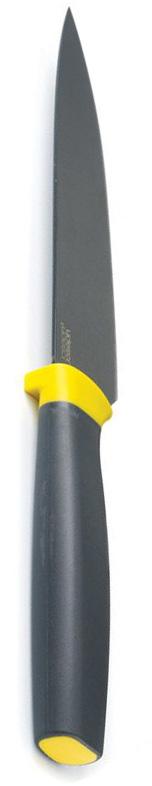 Нож поварской Joseph Joseph Elevate, с чехлом, цвет: желтый, длина лезвия 16 см10074Поварской нож Joseph Joseph Elevate был придуман с целью минимизировать беспорядок и грязь, которые неизменно возникают при готовке. В ручку ножа встроен специальный утяжелитель, поэтому лезвие не касается стола - и не пачкает его ни кремом от торта, ни соком от фруктов. Лезвие ножа изготовлено из высококачественной закаленной немецкой стали, а мягкая эргономичная полипропиленовая ручка даже мокрая не выскальзывает из рук. В комплекте - защитный чехол.Поварской нож Joseph Joseph Elevate превосходно подойдет для любого приготовления и разделывания продуктов.Нельзя мыть в посудомоечной машине.Общая длина ножа: 28,5 см.