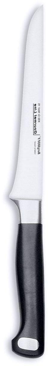 Нож для выемки костей BergHOFF Gourmet, цвет: металлик-черный, длина лезвия 15 см1399812Нож для выемки костей BergHOFF Gourmet изготовлен из высококачественной хром-молибден-ванадиевой стали (Х50CrMovV15). Эргономичная ручка с выемками для безопасного и удобного удерживания. Нож обладает бесшовной конструкцией и ручной заточкой. Кованая шейка ножа для дополнительного веса, баланса и безопасности рук. Таким ножом удобно удалить косточки и вынуть их из труднодоступных мест.Нож для выемки костей BergHOFF Gourmet предоставит вам все необходимые возможности в успешном приготовлении пищи и порадует вас своими результатами.Рекомендуется мыть вручную. Общая длина ножа: 27 см. Длина лезвия: 15 см.