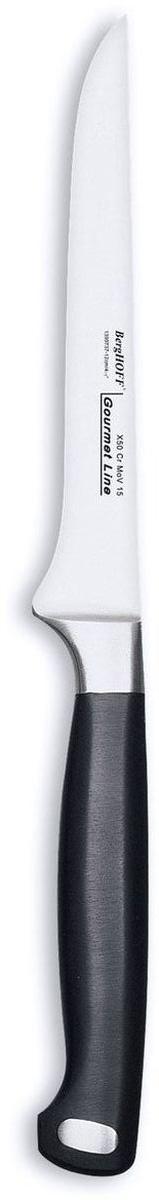 Нож для выемки костей BergHOFF Gourmet, длина лезвия 12 см1399737Нож для выемки костей BergHOFF Gourmet изготовлен из высококачественной хром-молибден-ванадиевой стали (Х50CrMovV15). Эргономичная ручка с выемками для безопасного и удобного удерживания. Нож обладает бесшовной конструкцией и ручной заточкой. Кованая шейка ножа для дополнительного веса, баланса и безопасности рук.Таким ножом удобно удалить косточки и вынуть их из труднодоступных мест.Нож для выемки костей BergHOFF Gourmet предоставит вам все необходимые возможности в успешном приготовлении пищи и порадует вас своими результатами. Рекомендуется мыть вручную. Общая длина ножа: 22,5 см. Длина лезвия: 12 см.