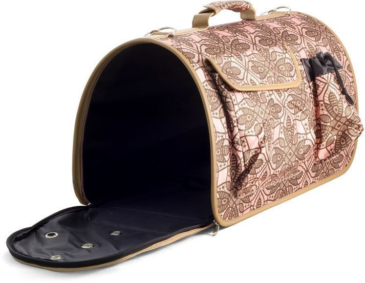 Сумка-переноска для животных Гамма Флора, цвет: коричневый, розовый, 50 х 30 х 27 смTB51Сумка-переноска для животных Гамма Флора - современная переноска - незаменимый аксессуар для транспортировки кошек и собак небольших пород. Надежная и практичная, за счет жесткого основания она удобно становится на пассажирское сиденье в автомобиле, стильно смотрится в руке или на плече и отлично справляется со своей задачей. Изделие подходит для комфортной и безопасной перевозки животных, имеет несколько карманов для дополнительных аксессуаров, а торцевые стенки на молнии открываются легким движением. Размер: 50 х 30 х 27 см.