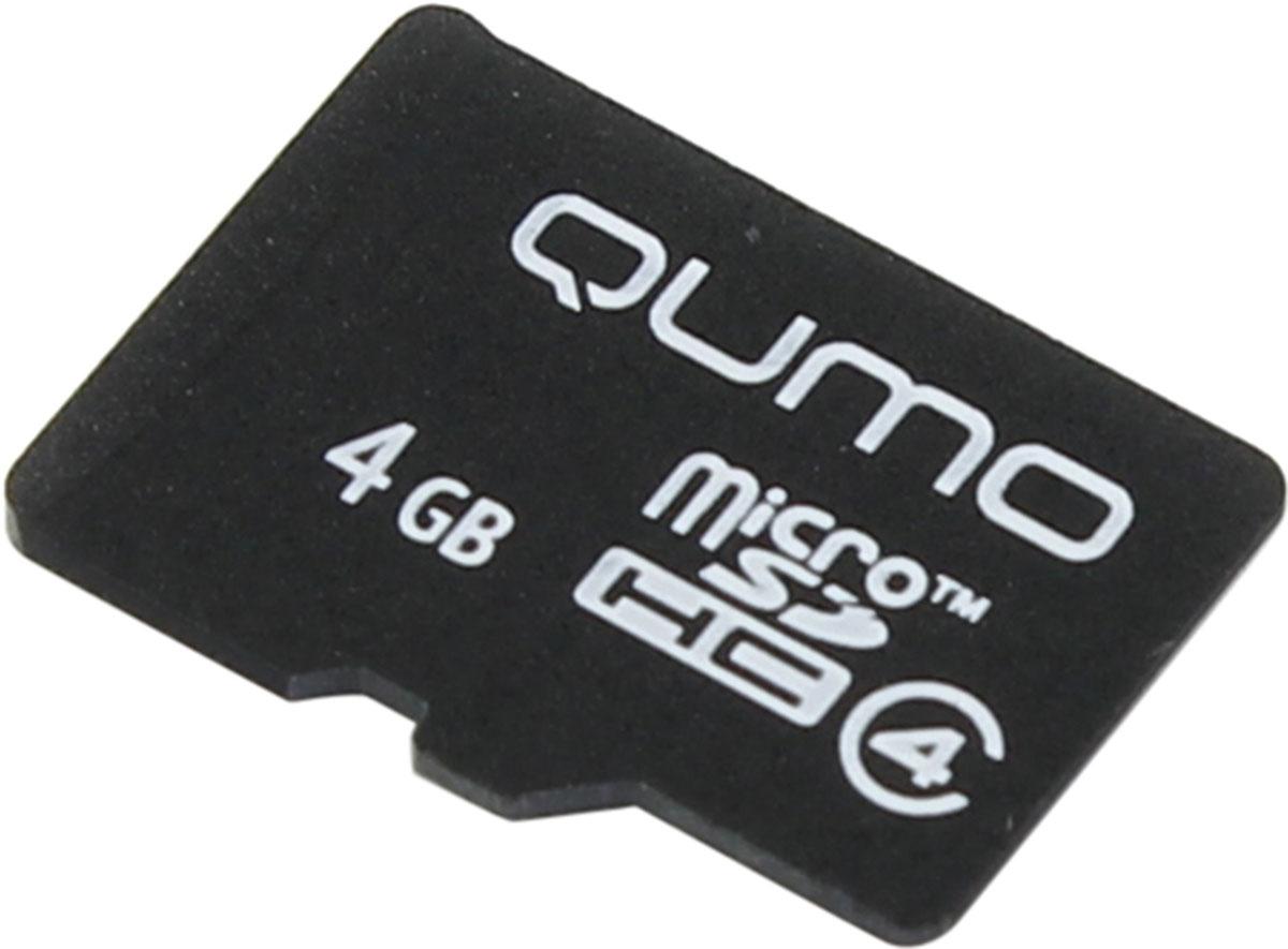 QUMO microSDHC Class 4 4GB карта памятиQM4GMICSDHC4NAУниверсальная карта QUMO microSDHC Class 4 расширяет способность памяти многофункциональных мобильных телефонов, цифровых камер, карманных компьютеров и других портативных устройств, поддерживающие данный формат карт. Идеально подходит для записи любых видов данных. Сохраните больше своих собственных коллекций музыки, видеороликов, кинофильмов, рингтонов, картинок и фотографий.