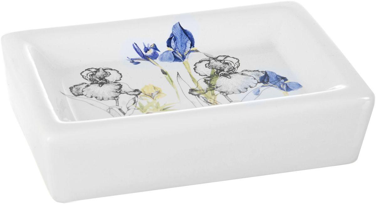 """Мыльница ENS Group """"Ирисы"""" изготовлена из натуральной и элегантной керамики белого цвета, удобной квадратной формы, с изображением цветов.Изделие прекрасно дополнит интерьер вашей ванной комнаты и отлично сочетается с другими аксессуарами из коллекции """"Ирисы""""."""
