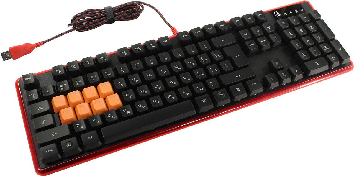 A4Tech Bloody B2278, Black Red игровая клавиатураB2278Клавиатура A4Tech Bloody B2278 обладает уникальным дизайном и высоким качеством производства. Тщательный контроль исполнения деталей, удобство и эргономичность по праву поднимают клавиатуру на топовые позиции среди аналогичных устройств. Клавиатура A4Tech Bloody B2278 предназначена для полного погружения в игровой процесс.Инновационная технология Light Strike использует оптические переключатели, обеспечивающие непревзойденное время отклика 0.2 мс! Оптический переключатель обладает высокой долговечностью, ультрапрочностью и износостойкостью, что делает его привлекательным для геймеров.Ход срабатывания оптических переключателей 1,5 мм - на 30% быстрее металлических переключателей (у обычных переключателей ход срабатывания - 2.2 мм).Срок службы - более 100 млн нажатий (обычные металлические переключатели легко изнашиваются и окисляются).Защищенная электроника + дренаж увеличивают срок службы.Нажатие Fn+F8 деактивирует кнопки Windows для предотвращения случайного вылета из игровой сессии.8 силиконовых нескользящих клавиш, предназначенных для более долгого и комфортного использования.Нескользящие ножки предотвращают вибрацию и скольжение клавиатуры во время игры.