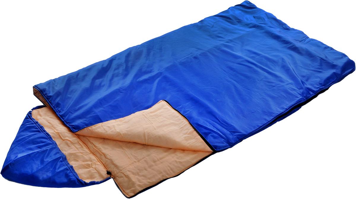 Спальный мешок Onlitop Престиж, увеличенный, цвет: синий, правосторонняя молния1344028_синийКемпинговый спальник-одеяло Onlitop Престиж, выполненный из таффета и ситца с наполнителем из синтепона, предназначен для походов и для отдыха на природе не только в летнее время, но и в прохладные дни весенне-осеннего периода. В теплое время спальный мешок можно использовать как одеяло (в том числе и дома). Изделие оснащено капюшоном.Спальник-одеяло Onlitop Престиж станет незаменимым аксессуаром для любителей туризма, рыболовов и охотников.Размер мешка: 225 х 100 см.