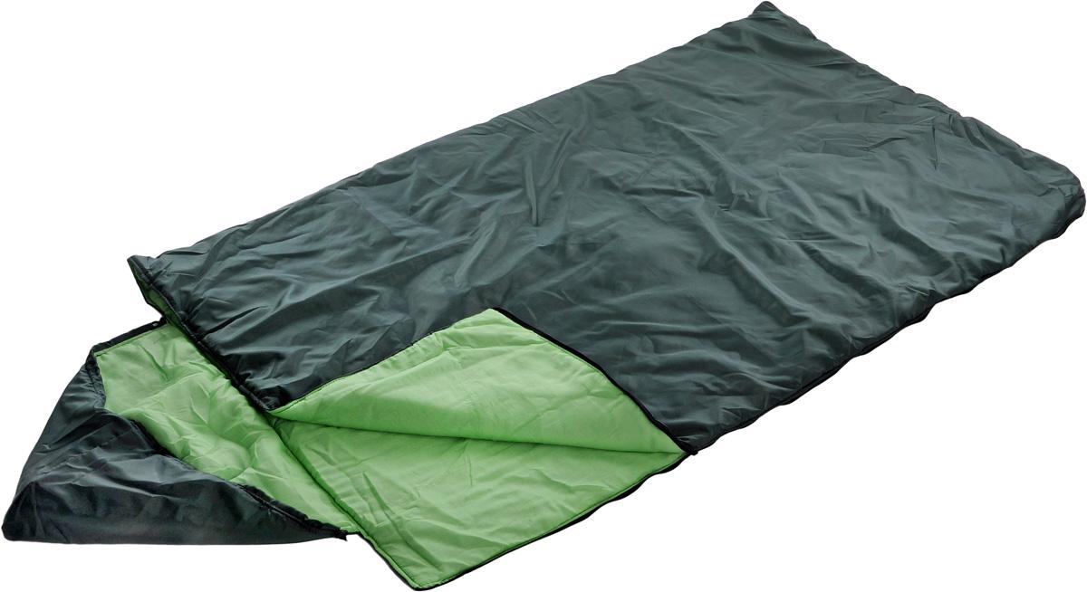 Спальный мешок Onlitop Престиж, увеличенный, с капюшоном, цвет: зеленый, правосторонняя молния