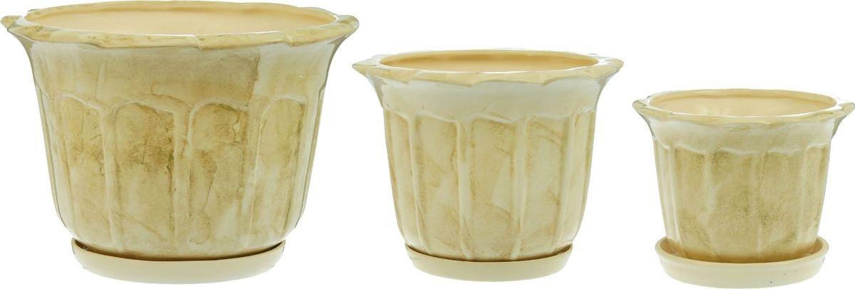 Набор кашпо Ромашка, цвет: белый, 3 предмета1166157Набор кашпо 3шт. Ромашка белый: 10,5л, 4,1л, 1,3л 1166157
