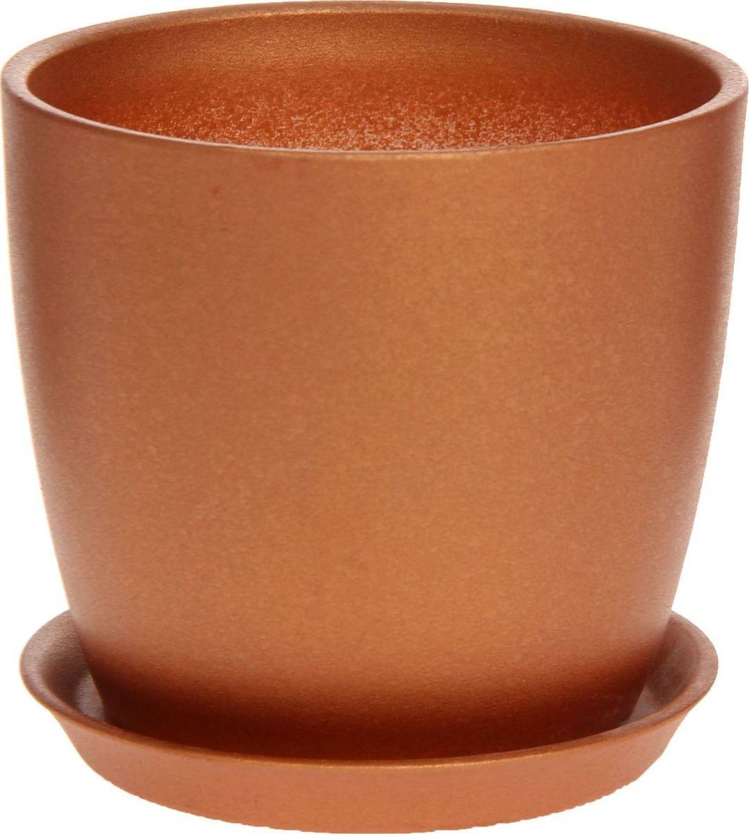 Кашпо Керамика ручной работы Осень, цвет: бронзовый, 0,5 л1170263Комнатные растения - всеобщие любимцы. Они радуют глаз, насыщают помещение кислородом и украшают пространство. Каждому из них необходим свой удобный и красивый дом. Кашпо из керамики прекрасно подходят для высадки растений:пористый материал позволяет испаряться лишней влаге;воздух, необходимый для дыхания корней, проникает сквозь керамические стенки. Кашпо Осень позаботится о зеленом питомце, освежит интерьер и подчеркнет его стиль.