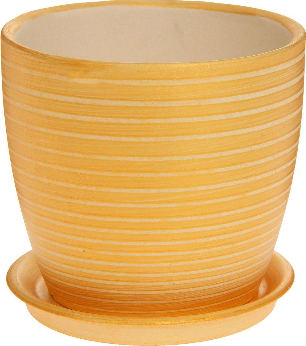 Кашпо Керамика ручной работы Осень. Радуга, цвет: золотой, 1 л1170288Комнатные растения — всеобщие любимцы. Они радуют глаз, насыщают помещение кислородом и украшают пространство. Каждому из них необходим свой удобный и красивый дом. Кашпо из керамики прекрасно подходят для высадки растений: за счёт пластичности глины и разных способов обработки существует великое множество форм и дизайновпористый материал позволяет испаряться лишней влагевоздух, необходимый для дыхания корней, проникает сквозь керамические стенки! #name# позаботится о зелёном питомце, освежит интерьер и подчеркнёт его стиль.