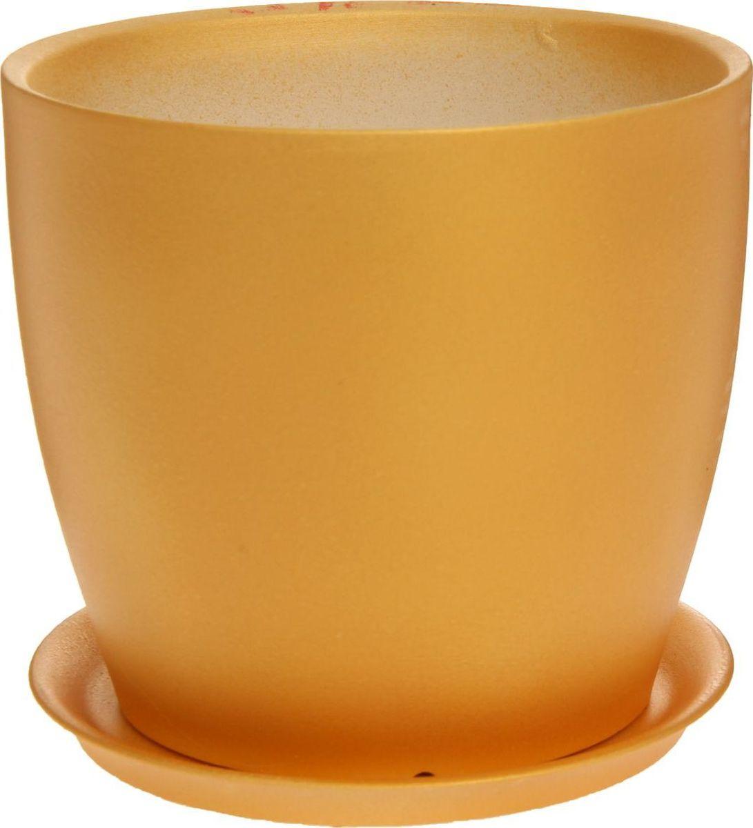 Кашпо Керамика ручной работы Осень, цвет: золотой, 3 л1170344Комнатные растения — всеобщие любимцы. Они радуют глаз, насыщают помещение кислородом и украшают пространство. Каждому из них необходим свой удобный и красивый дом. Кашпо из керамики прекрасно подходят для высадки растений: за счёт пластичности глины и разных способов обработки существует великое множество форм и дизайновпористый материал позволяет испаряться лишней влагевоздух, необходимый для дыхания корней, проникает сквозь керамические стенки! #name# позаботится о зелёном питомце, освежит интерьер и подчеркнёт его стиль.