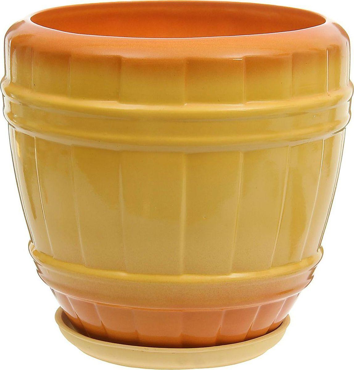 Кашпо Кадушка, цвет: желтый, 22 л1170822Комнатные растения — всеобщие любимцы. Они радуют глаз, насыщают помещение кислородом и украшают пространство. Каждому из них необходим свой удобный и красивый дом. Кашпо из керамики прекрасно подходят для высадки растений: за счет пластичности глины и разных способов обработки существует великое множество форм и дизайнов пористый материал позволяет испаряться лишней влаге воздух, необходимый для дыхания корней, проникает сквозь керамические стенки! позаботится о зеленом питомце, освежит интерьер и подчеркнет его стиль.