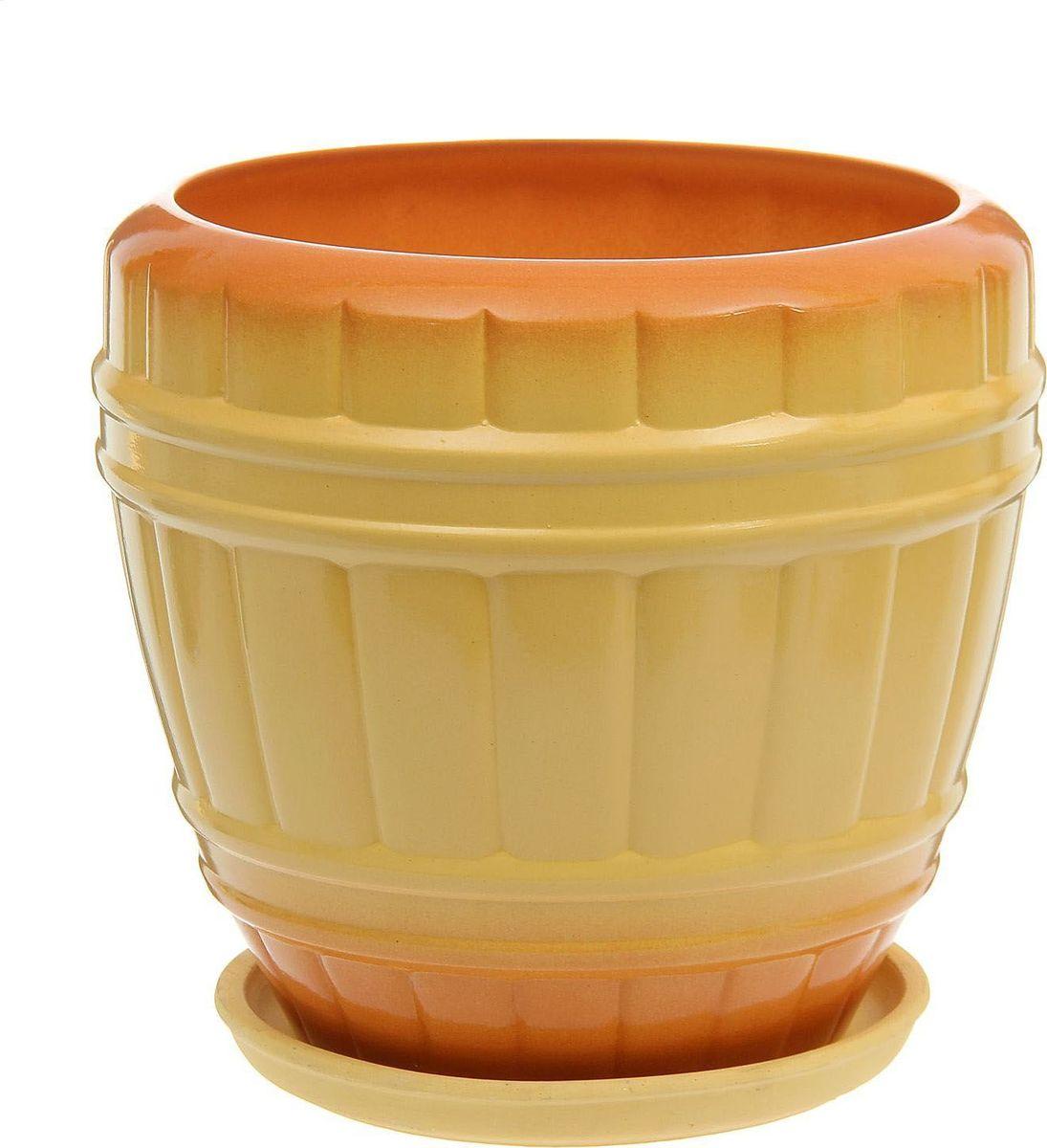 Кашпо Кадушка, цвет: желтый, 12 л1179469