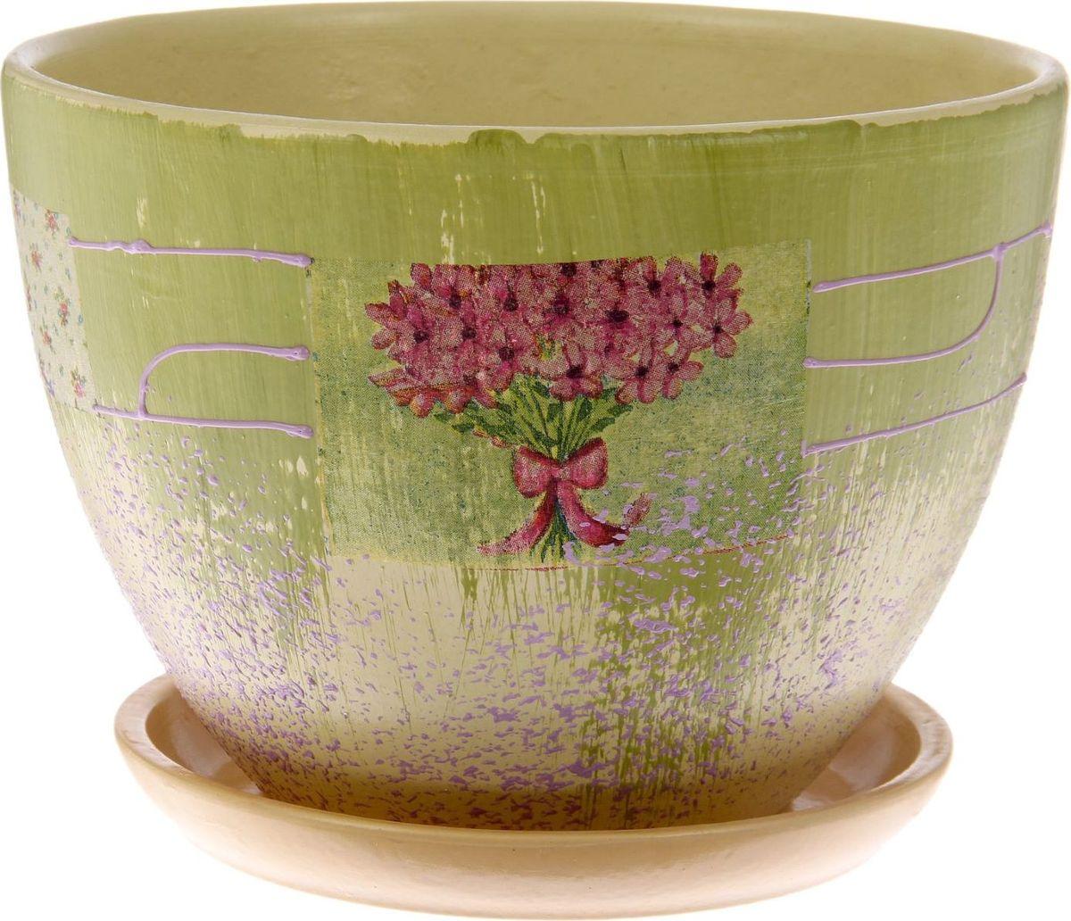 Кашпо Кантри, цвет: зеленый, белый, 2 л1186578Комнатные растения — всеобщие любимцы. Они радуют глаз, насыщают помещение кислородом и украшают пространство. Каждому из них необходим свой удобный и красивый дом. Кашпо из керамики прекрасно подходят для высадки растений: за счет пластичности глины и разных способов обработки существует великое множество форм и дизайнов пористый материал позволяет испаряться лишней влаге воздух, необходимый для дыхания корней, проникает сквозь керамические стенки! позаботится о зеленом питомце, освежит интерьер и подчеркнет его стиль.