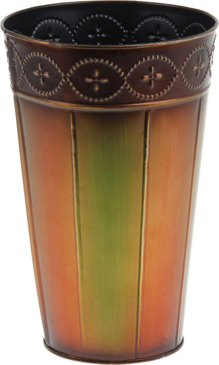 Кашпо Стиль, цвет: оранжевый, зеленый, 15 х 15 х 23 см1199490Комнатные растения — всеобщие любимцы. Они радуют глаз, насыщают помещение кислородом и украшают пространство. Каждому из растений необходим свой удобный и красивый дом. Металлические декоративные вазы для горшков практичны и долговечны. позаботится о зеленом питомце, освежит интерьер и подчеркнет его стиль. Особенно выигрышно они смотрятся в экстерьере: на террасах и в беседках. При желании его всегда можно перекрасить в другой цвет.