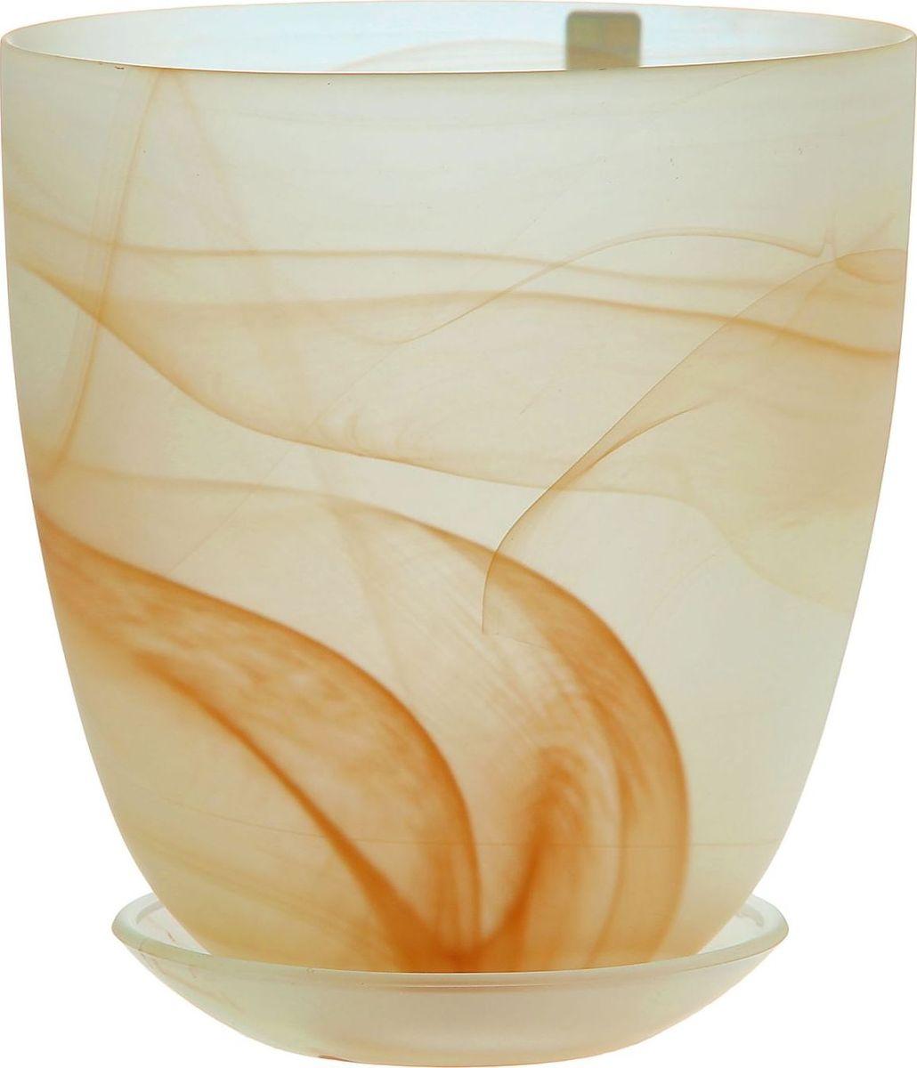 """Кашпо с поддоном NiNaGlass """"Гармония"""", выполненное из стекла, предназначено для выращивания декоративных растений, цветов и трав.  Комнатные растения - всеобщие любимцы. Они радуют глаз, насыщают помещение кислородом и украшают пространство. Каждому цветку необходим свой удобный и красивый дом.  Из-за прозрачности стекла такие декоративные кашпо пользуются большой популярностью для выращивания орхидей. Кашпо позаботится о растениях, освежит интерьер и подчеркнет его стиль."""