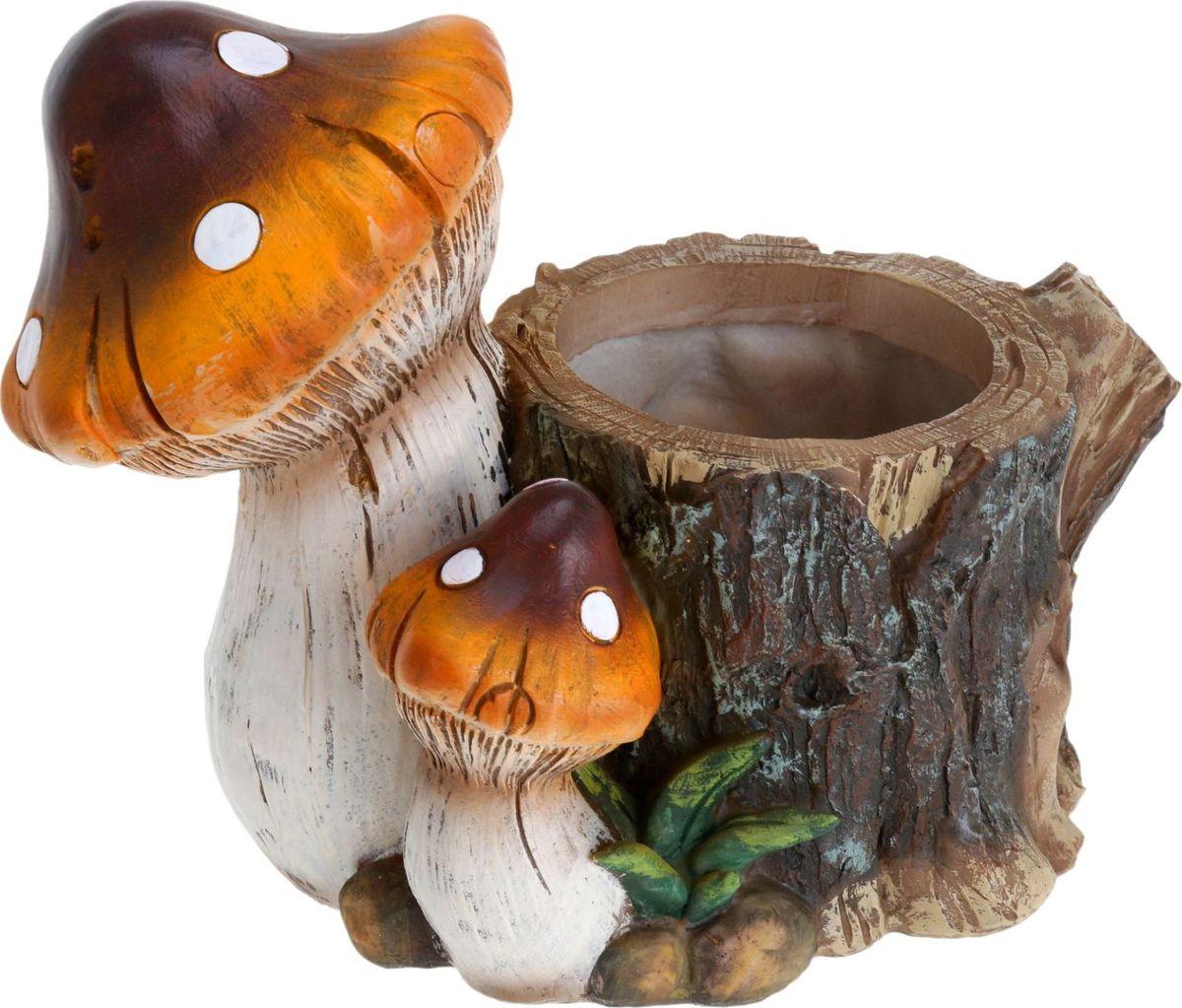 Фигура садовая Пень с грибами, с подставкой для кашпо, 28 х 15 х 22 см1224061Летом практически каждая семья стремится проводить больше времени за городом. Прекрасный выбор для комфортного отдыха и эффективного труда на даче, который будет радовать вас достойным качеством.