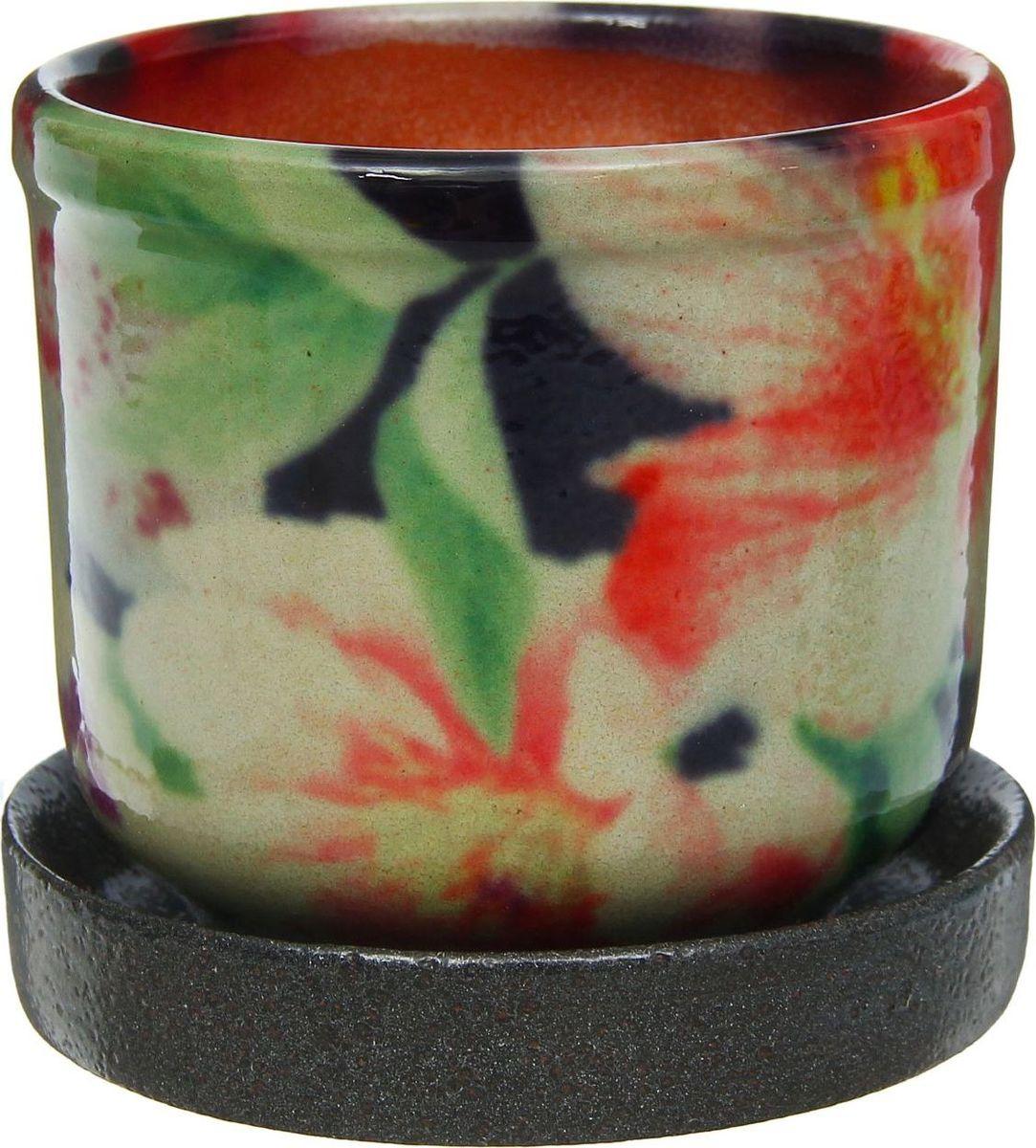 Кашпо Цветник. Тюльпаны, цвет: черный, 0,3 л1253770