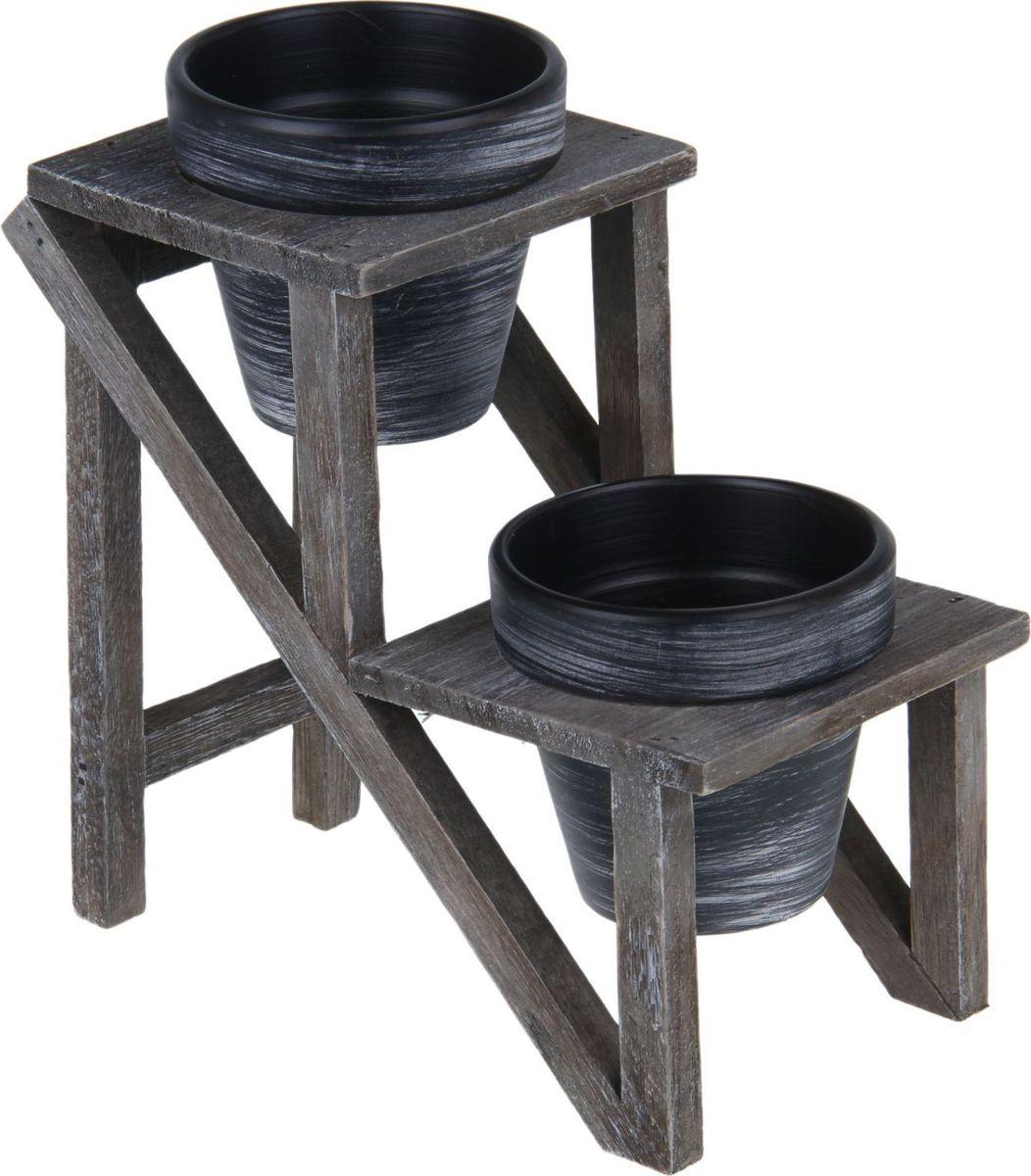 Кашпо Лесенка, на подставке, 12 х 22 х 25 см1259006Каждому из растений необходим свой удобный и красивый дом. Поселите зелёного питомца в яркое и оригинальное фигурное кашпо на деревянной подставке Лесенка. Кашпо из керамики прекрасно подходят для высадки растений за счёт пластичности глины и разных способов обработки существует великое множество форм и дизайнов. Пористый материал позволяет испаряться лишней влаге; воздух, необходимый для дыхания корней, проникает сквозь керамические стенки!