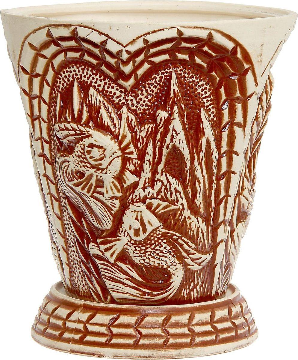 Кашпо Керамика ручной работы Aквариум, цвет: коричневый, 11 л